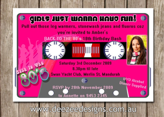 Personalised 80s Eighties Cassette Tape Birthday Invitations You