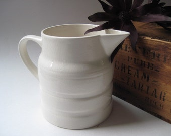 Vintage White Cottage Chic Ceramic Pitcher Made in England