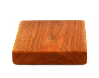 "Thick Cherry Wood Cheese Board - Solid Slab - Ready to Ship - 7""x7""x1-1/2"""