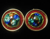 CLEARANCE Dichroic Glass Cabochon Vintage Earrings are Surrounded by Rich Red Enamel in Gold Tone Metal Foundation.  Clip Backs.