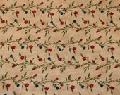 Moda Quilt Fabric Cotton 'Lovina's Pressed Flowers' by Blackbird Floral Vine Blue Red Yellow Flowers Sold by 1/2 Yard
