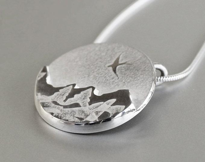 Snowy Mountain Pendant, Silver Jewelry, Silver Pendant, Silver Jewellery.