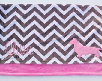Dachshund Baby Blanket, Minky Dachshund Blanket, Weiner Dog Blanket, Large Crib Blanket, Minky Crib Blanket, Chevron Crib Blanket