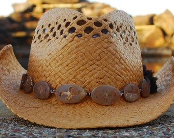 Natural Cowgirl Hat with Tibetan Agate Band