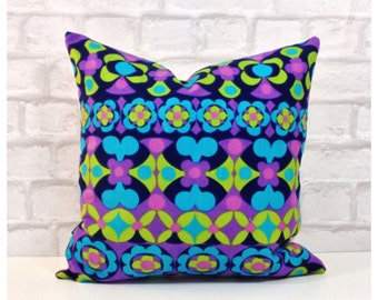 "Vintage 60s Retro Fabric Cushion Cover 16"" x 16"" Retro Throw Pillow Cover"
