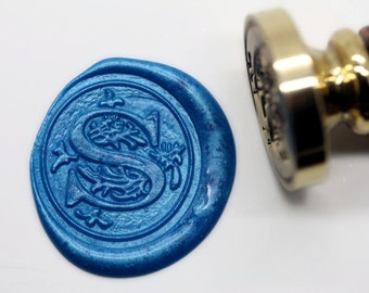 "S1161 Alphabet Letter "" S "" Wax Seal Stamp , Sealing wax stamp, wax stamp, sealing stamp Flower Sytle"