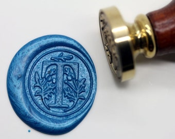 "S1162 Alphabet Letter "" T "" Wax Seal Stamp , Sealing wax stamp, wax stamp, sealing stamp Flower Sytle"