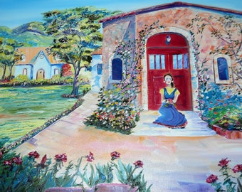 Girl on Porch, Folk Art, Hacienda Afternoon, Red Roses, Original Oil Painting, Dan Leasure Oils