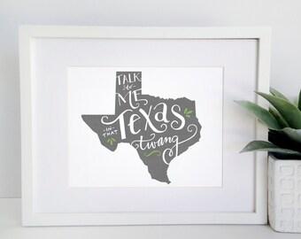 8x10 Texas Print - Southern Print - Texas Pride - Charcoal