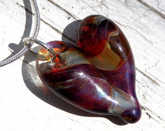 Heart Necklace Glass Pendant Silver Chain Handblown SRA  Amber Purple