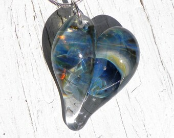 Blue Glass Heart, Flamework Necklace, Lampwork Focal Bead Hand Blown Boro Brillant Blue