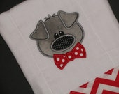 Personalized, appliqued burp cloth with little boy pig with bow tie; farm animal burpie; barnyard animal; pig