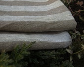 """Linen Kitchen Towels Set of 2 17.5""""x25"""" Natural Grey and Brown Stripped Washed Wrinkled"""