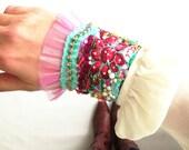 Cuff Bracelet / Pink / Rhinestone / Embroidery / Tulle / Handmade / Rhinestone