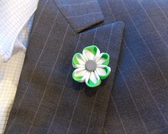 Clearance: The New Yorker-Green and White Stripe Grosgrain Lapel Flower//men's lapel flower//Wedding Boutonniere//Flower Lapel Pin