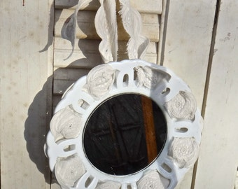 Lattice Wall Dish, Ceramic Dish Mirror, Dish Wall Hanging, Round Plate Mirror, 3 x 3 Mirror, Plate with Ribbon, Beach Coastal Cottage Rustic