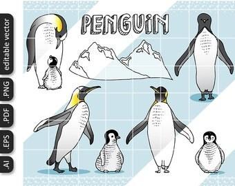 VECTOR Penguin Hand Drawn Animal Illustration by Nedti