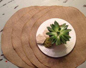 SALE !!!!! Rustic burlap plain round placemats