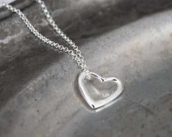 Silver Heart Necklace - Minimalist Sterling Silver Necklace, Open Heart Pendant, Anniversary, Valentine's Day Gift for Her Under 30