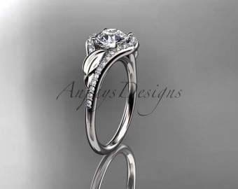 Platinum diamond leaf wedding ring,engagement ring ADLR334