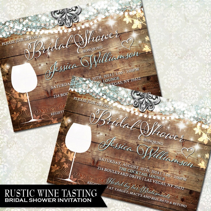 Winery Wedding Invitations: Rustic Bridal Shower Invitation Vineyard Wedding By