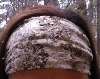 Brown & White Lace Headband