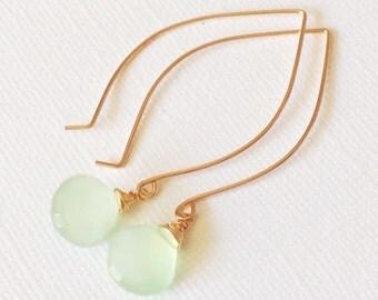 Earrings  Kalena - Mint chalcedony earrings - Mint earrings - Chalcedony earrings - Spring jewelry - Bridesmaid gift (E200)