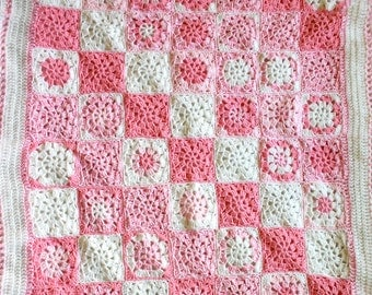 Pink Crochet Baby Blanket- Made To Order- Granny Squares- Shades of Pink, White-  Hand Crocheted Afghan- Nursery, Bedding, Decor