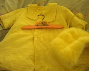 Vintage Corduroy Child's Coat with Bonus Vintage Hanger and Rabbit Pom Pom Hat,Children's Vintage Clothing