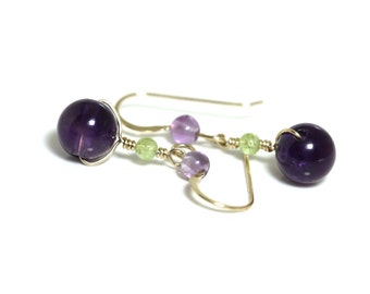 amethyst and peridot drop earrings, 14k gold filled dangle earrings, august birthstone, purple round gemstone earrings handmade by girlthree