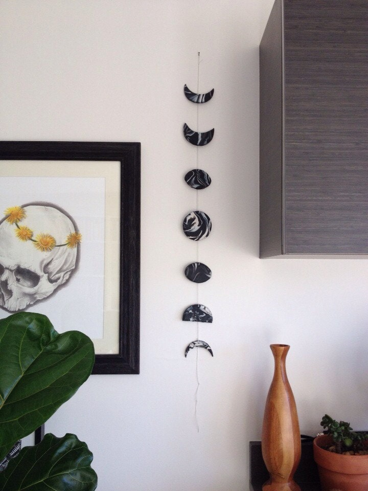 Wall Decor With Clay : Phases of the moon clay wall hanging