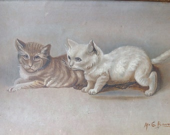 Antique signed French Painting of Cats, Original art, Oil on panel, Kittens