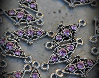 Genuine Silver Plated Swarovski Crystal 2 Hole Sliders I100 Light Rose