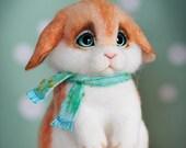 Needle felted fluffy bunny Muffin - Artist miniature - wool sculpture -Easter Rabbit