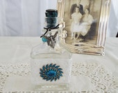 Decorative Bottle With Vintage Jewelry, Lace, Czech Glass Button, Fairy, Turquoise