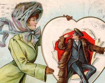 Rare Original Antique Wessler Valentine's Day Postcard Copyrighted 1909 Comic  GOOD Used Condition