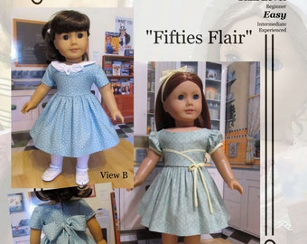"PDF Pattern KDD04 ""Fifties Flair"" -An Original KeepersDollyDuds Design, 18"" Doll Clothes, Fits American Girl"