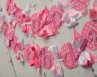 Happy Birthday Banner Pink Polka Dot