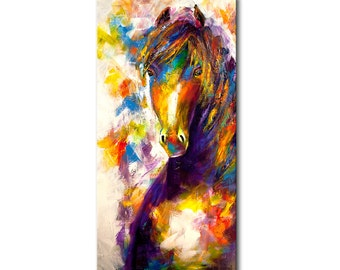 "Colorful horse painting Abstract painting 72"" x 36"" enormous acrylic on canvas Modern Palette knife by Osnat ready to hang Wired animal art"