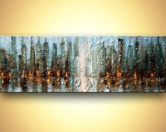 """Huge ORIGINAL Contemporary Blue Abstract City Painting Heavy Texture Modern Acrylic Downtown Painting by Osnat 72"""" x 24"""""""