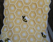 Crocheted Sweet as a Honey Bee Baby Blanket with Hat Made to Order