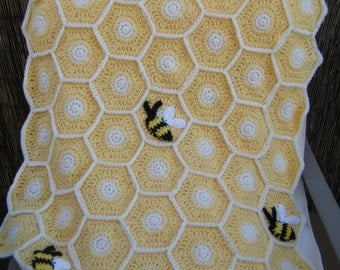 Crocheted Sweet as a Honey Bee Baby Blanket with Hat