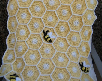 Crocheted Light Yellow Sweet as a Honey Bee Baby Blanket with Hat Made to Order