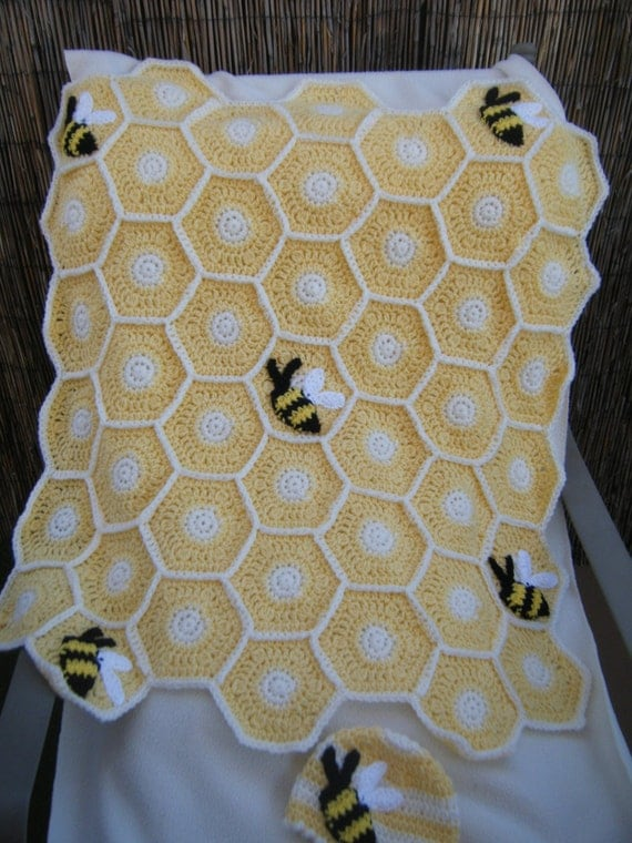 Crocheted Light Yellow Sweet As A Honey Bee Baby Blanket With