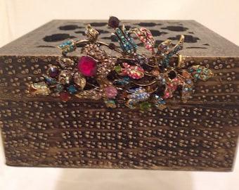 Repurposed Antique Gold Decorative Box