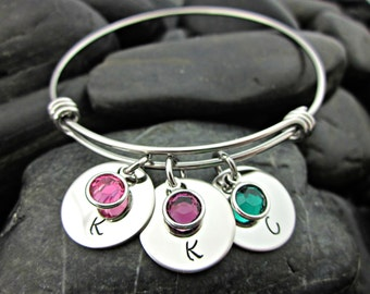 Personalized Mother's Bracelet - Expandable - Adjustable - Initials - Birthstones