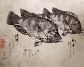 "BIBLE VERSE ""I Will Make You Fishers of Men"" Gyotaku / Calligraphy Christian print - traditional Japanese fish art"