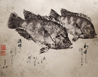 "BIBLE VERSE ""I Will Make You Fishers of Men"" Gyotaku / Calligraphy Christian print - traditional Japanese fish art"