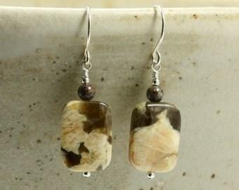 Feldspar Graphic Earrings with Snowflake Jasper, Dangle Earrings, Drop Earrings