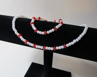 Red and Pearl Flower girl Necklace & Bracelet Set